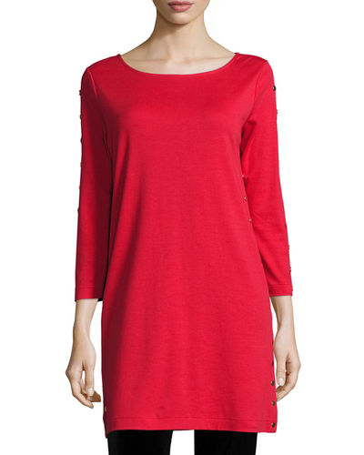Joan Vass 3/4-Sleeve Studded Tunic, Petite