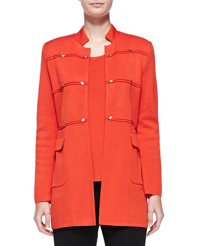 Studded Long Jacket, Blood Orange