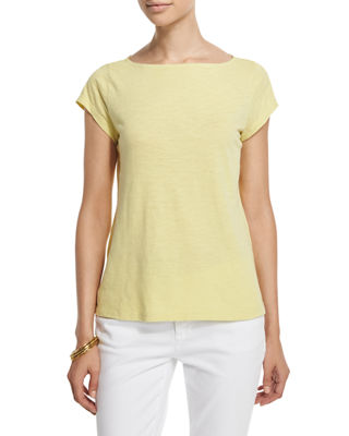 Eileen Fisher Cap-Sleeve Organic Cotton Slub Top, Plus