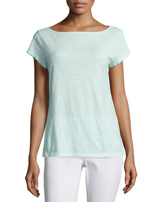 Eileen Fisher Cap-Sleeve Organic Cotton Slub Top