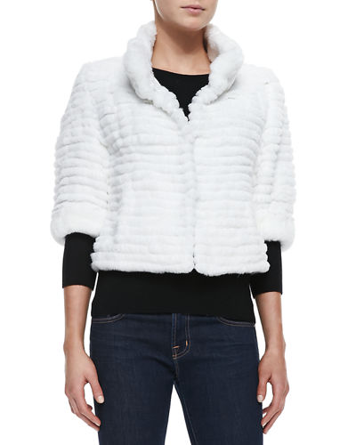 Belle Fare High-Collar Layered Fur Coat, White