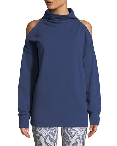 Keystone Cold-Shoulder Funnel-Neck Sweatshirt