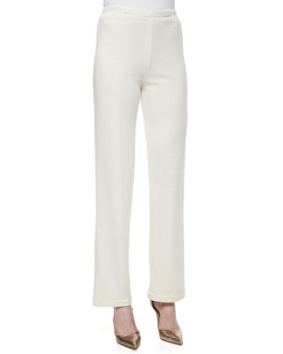 Image 1 of 3: Straight-Leg Flat Knit Wool Pants