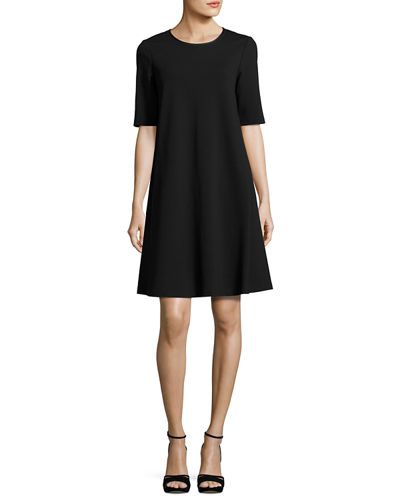 Charmeuse-Trimmed Half-Sleeve Shift Dress