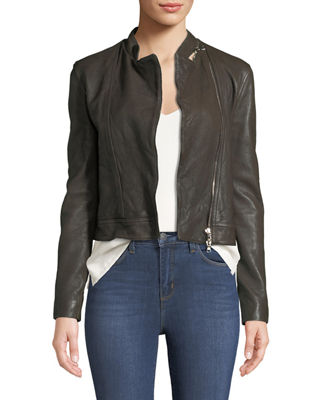 L'Agence Devon Leather Moto Jacket, Black and Matching