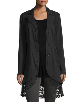 XCVI Paisley Crochet-Detailed Jacket, Plus Size in Black