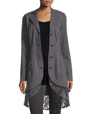 XCVI Paisley Crochet-Detailed Jacket, Plus Size in London Grey