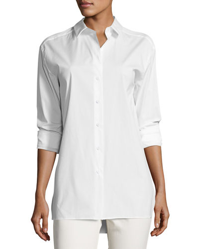 Dannell Button-Front Stretch-Cotton Blouse, Plus Size