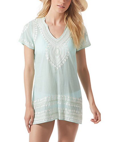 Evian Embroidered Short Sleeve Coverup Tunic