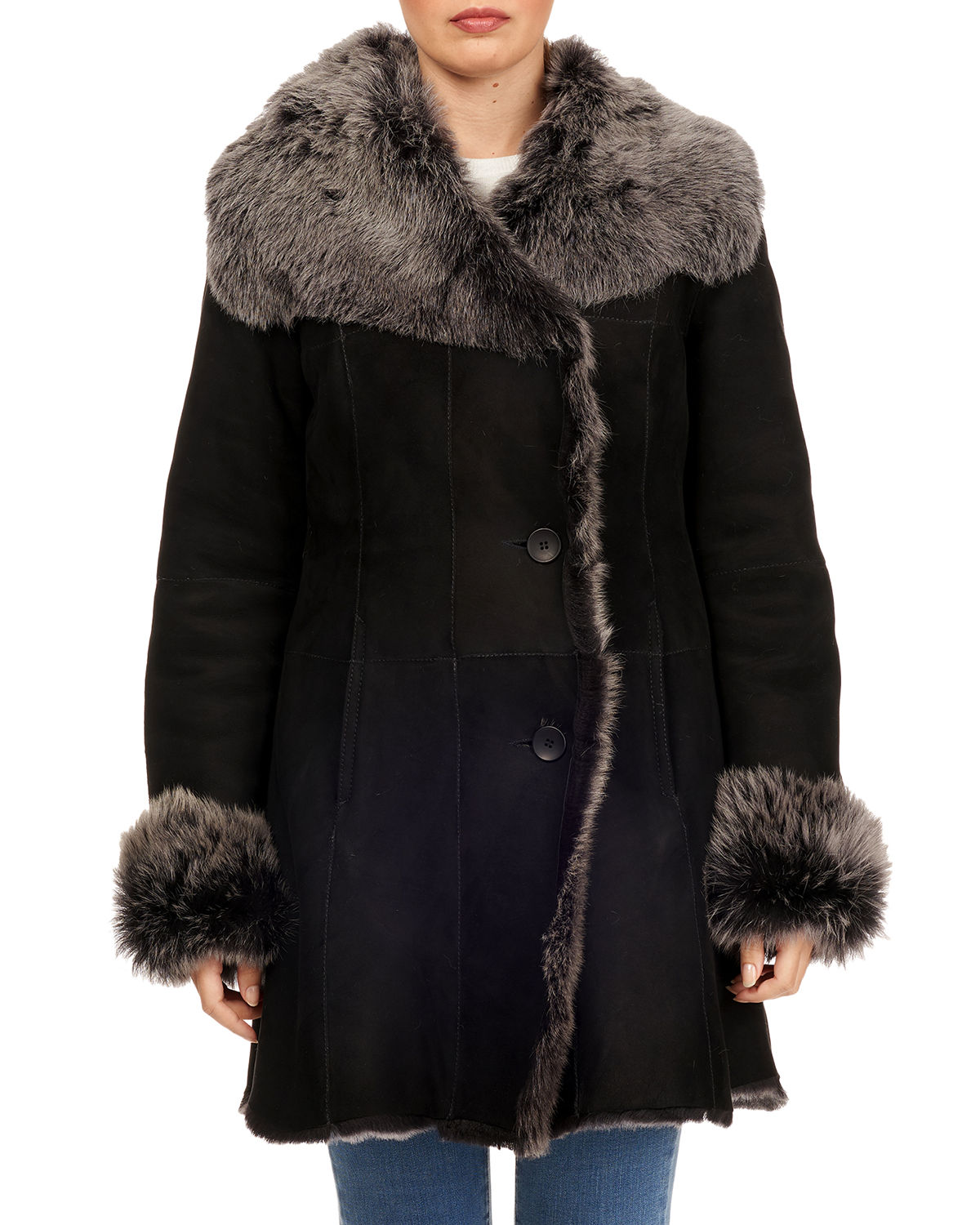 Shearling Button-Front Coat