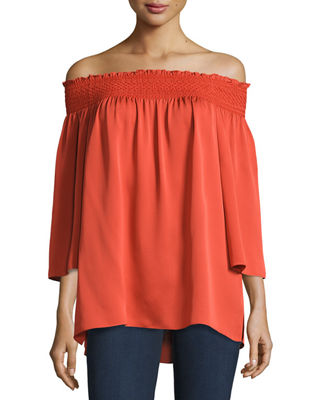 Image 1 of 2: Elistaire Off-the-Shoulder Modern Georgette Top