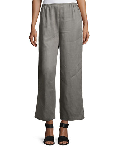 Plus Size Tissue Linen Wide-Leg Pants