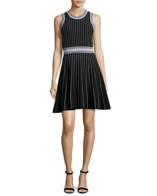 Milly Sleeveless Textured Fit-&-Flare Dress