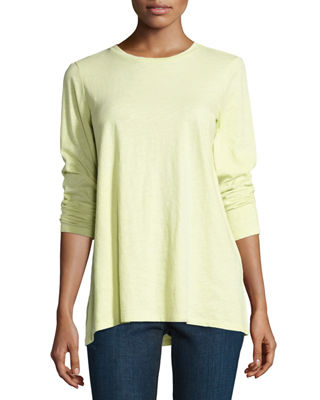 Eileen Fisher Long-Sleeve Slubby Organic Jersey Top, Plus