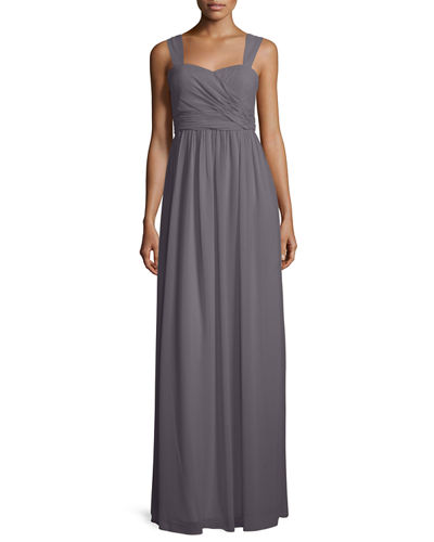 Donna Morgan Sleeveless Ruched Chiffon Gown