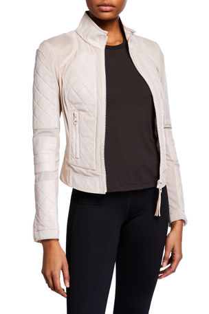 Blanc Noir Quilted Leather & Mesh Moto Jacket