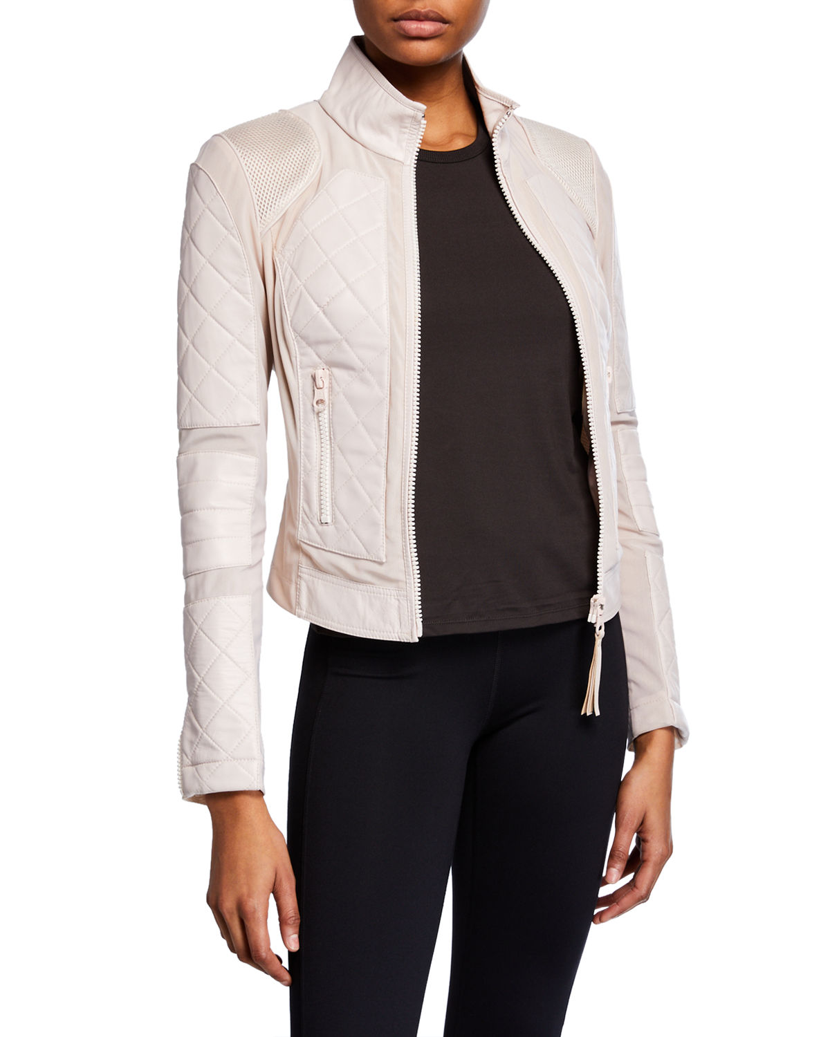 Blanc Noir Jackets QUILTED LEATHER & MESH MOTO JACKET