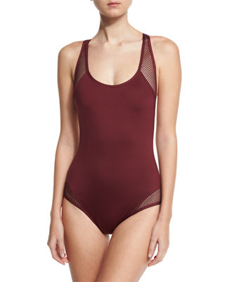 Carmen Marc Valvo Sporty Soul Mesh Zip-Back One-Piece