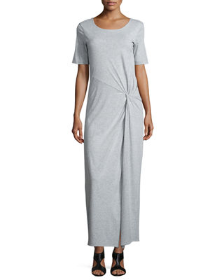 Joan Vass Short-Sleeve Ruched Jersey Maxi Dress, Petite
