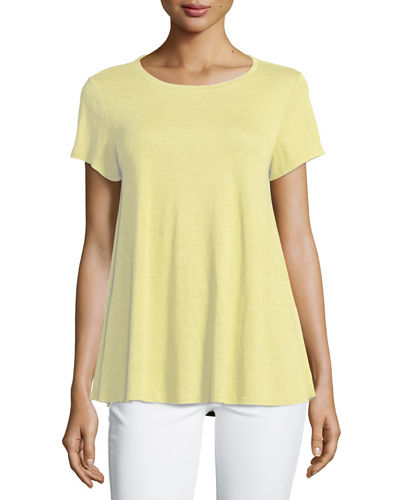 Eileen Fisher Short-Sleeve Organic Linen Jersey Tee, Plus