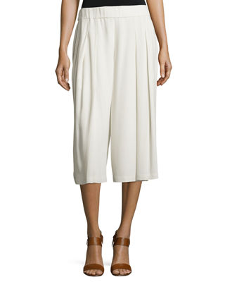 Pleated Silk Georgette Cropped Pants