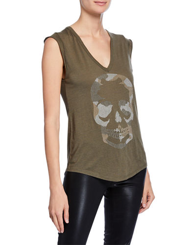 Brooklyn Strass Cotton Skull Tee