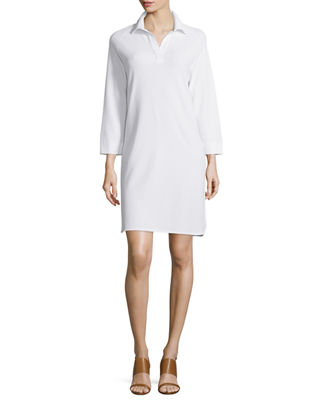Joan Vass 3/4-Sleeve Shirttail Pique Dress, Plus Size