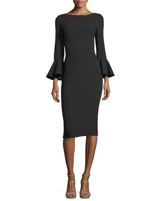 Michael Kors Collection Bell-Cuff Bateau-Neck Sheath Dress
