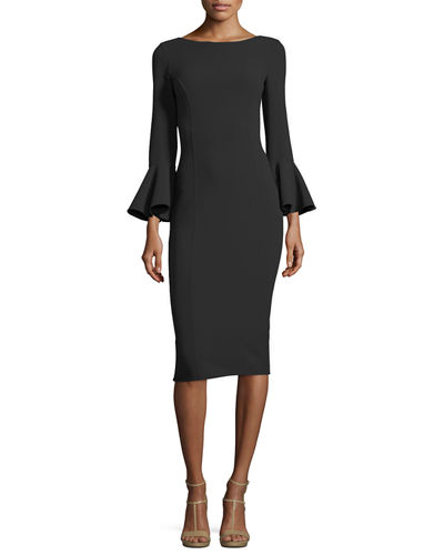 Bell-Cuff Bateau-Neck Sheath Dress
