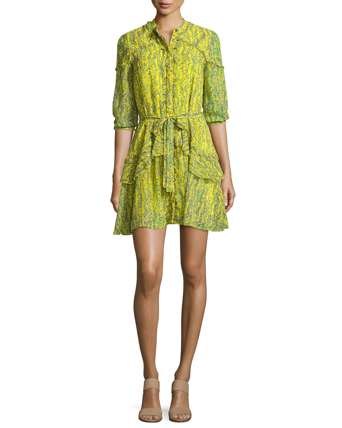 Tilly 3/4-Sleeve Ruffle Shirtdress