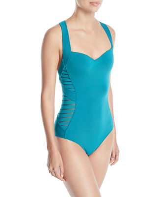 JETS by Jessika Allen Banded Side-Stripe One-Piece Swimsuit