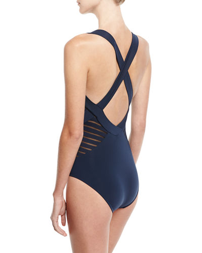Banded Side-Stripe One-Piece Swimsuit