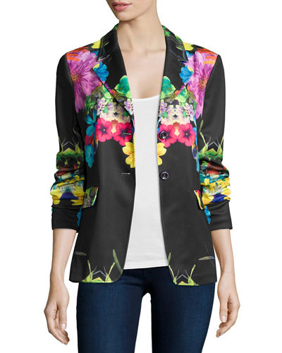 Flower Pop Two-Button Jacket, Petite