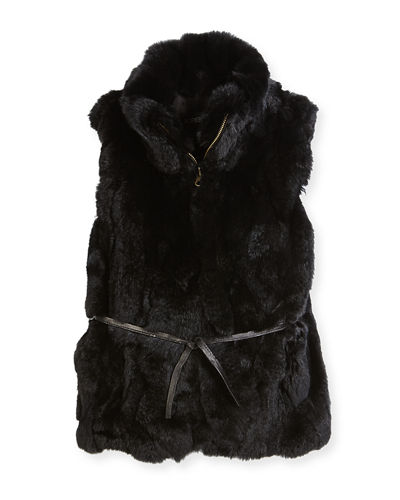 Adrienne Landau Girls' Rabbit Fur Vest, Size 2-12