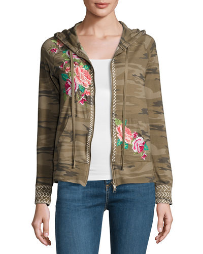 Plus Size Dorana Embroidered Camo Hoodie