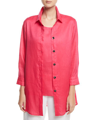 Image 1 of 3: Tissue Linen Boyfriend Shirt, Plus Size