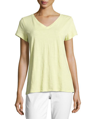 Eileen Fisher Short-Sleeve V-Neck Jersey Tee, Plus Size