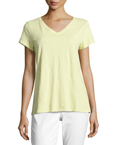 Short-Sleeve V-Neck Jersey Tee, Plus Size