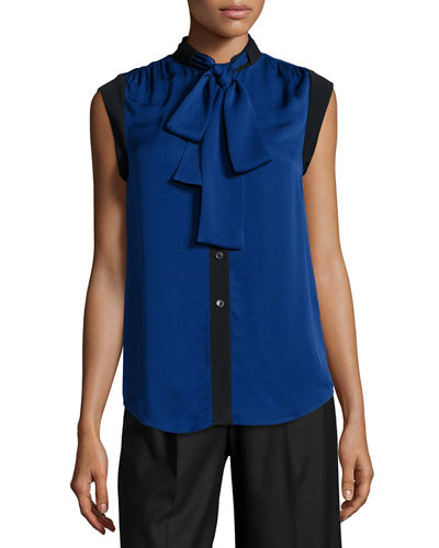 Tie-Neck Sleeveless Silk Top