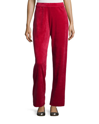 Joan Vass Velour Full-Length Jog Pants