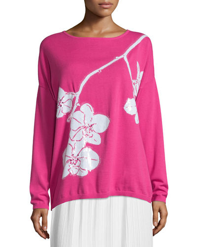 Plus Size Sequined Orchid Intarsia Sweater