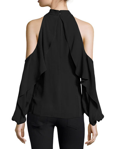 Adrienne Ruffled Cold-Shoulder Silk Blouse