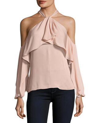 Kobi Halperin Adrienne Ruffled Cold-Shoulder Silk Blouse