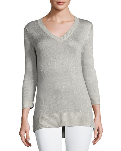 Neiman Marcus Cashmere Collection 3/4-Sleeve Sequin V-Neck