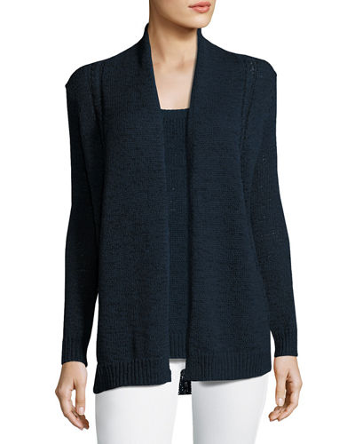 Neiman Marcus Cashmere Collection Tape-Yarn Open Cardigan