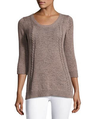 3/4-Sleeve Tape-Yarn Pullover