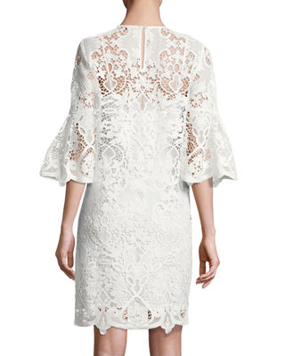 Image 2 of 2: Lila Bell-Sleeve Lace Dress