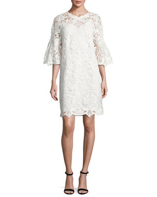 Image 1 of 2: Lila Bell-Sleeve Lace Dress
