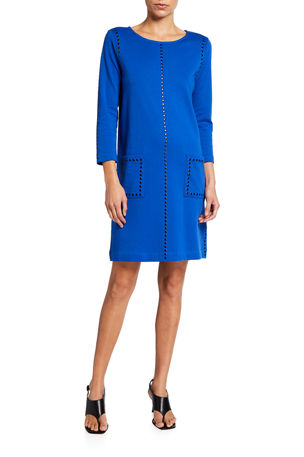 Joan Vass Petite 3/4-Sleeve Embellished Shift Dress