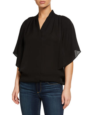 Carin Ruffled-Sleeve Silk Blouse